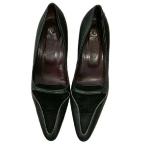 Tod's black suede and leather pointed toe heels